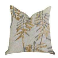 Creekside Beauty Luxury Throw Pillow in Green and Gold Tones