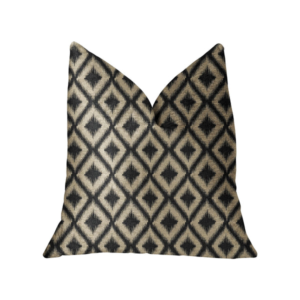 Diamond Embers Gray and Beige Luxury Throw Pillow