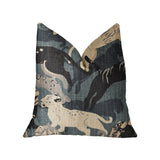Kimono Tiger Blue and Beige Luxury Throw Pillow
