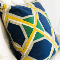Obliquity Blue, Yellow and Green Luxury Throw Pillow