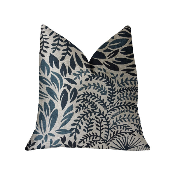 Leaf Snap Blue and Beige Luxury Throw Pillow