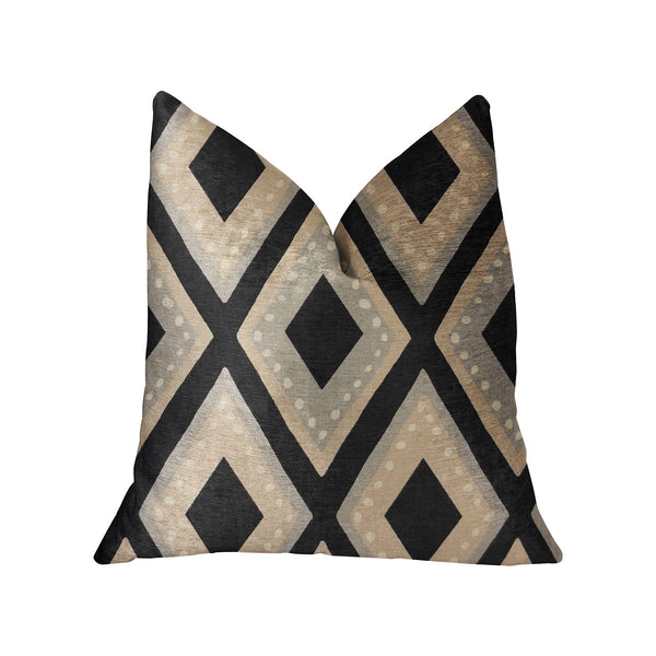 Jager Dotz Blue and Beige Luxury Throw Pillow