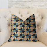 Shape Reflections Blue and Beige Luxury Throw Pillow