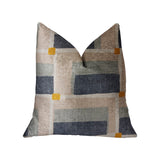 Bay Window Blue and Beige Luxury Throw Pillow