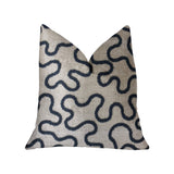 Chandra Taal Blue and Beige Luxury Throw Pillow