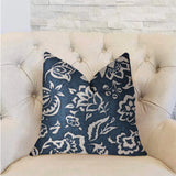 Elsi Pom Blue and White Luxury Throw Pillow