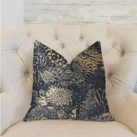 Lazuli Blue and Beige Luxury Throw Pillow