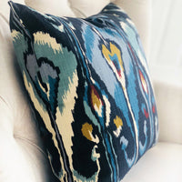 Deep Sanctuary Blue and Gray Luxury Throw Pillow