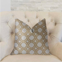 Medallion Eclipse Beige and Gray Luxury Throw Pillow