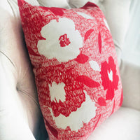 Hibiscus Red and Beige Luxury Throw Pillow