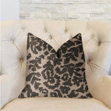 Lustrous Leaves Gray Luxury Throw Pillow