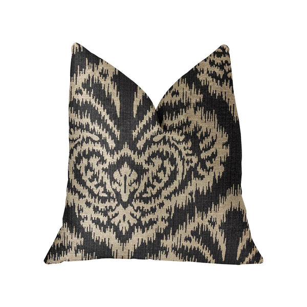 Floral Fantasy Black and Beige Luxury Throw Pillow