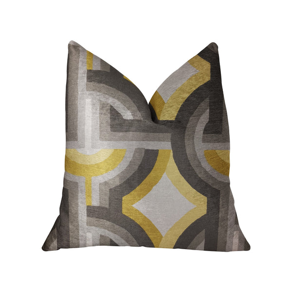 Delightful Chain Yellow, Beige and Gray Luxury Throw Pillow