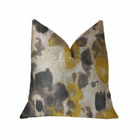 Pretty Passion Yellow, Beige and Gray Luxury Throw Pillow