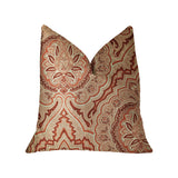 Enchanted Prairie Red and Beige Luxury Throw Pillow