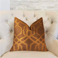 Portia  Gold and Brown Luxury Throw Pillow