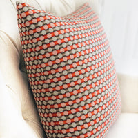 Sunny Cave Orange and Beige Luxury Throw Pillow