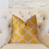 Honeycomb Yellow and Beige Luxury Throw Pillow