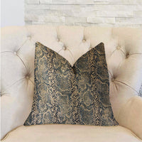 Exotic Phantom  Blue and Gold Luxury Throw Pillow