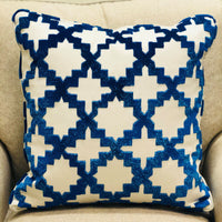 Velvety French Medallion Blue and Off White Geometric Luxury Throw Pillow