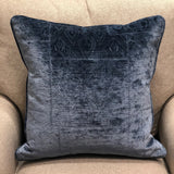 Bleu Velour Blue Luxury Throw Pillow