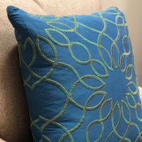 Calico Island Blue and Green Geometric Luxury Throw Pillow