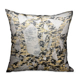 Craven Dust Gold, Gray Abstract Luxury Throw Pillow
