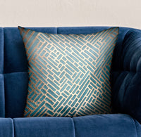 Golden Brick Blue Geometric Luxury Throw Pillow