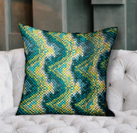 Montage Haven Green Geometric Luxury Throw Pillow