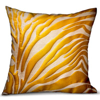 Mimosa Zebra  Orange Animal Motif Luxury Throw Pillow