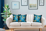 Bronze Blossom Blue Floral Luxury Throw Pillow