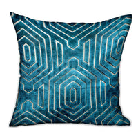 Cerulean Velvet Blue Geometric Luxury Throw Pillow