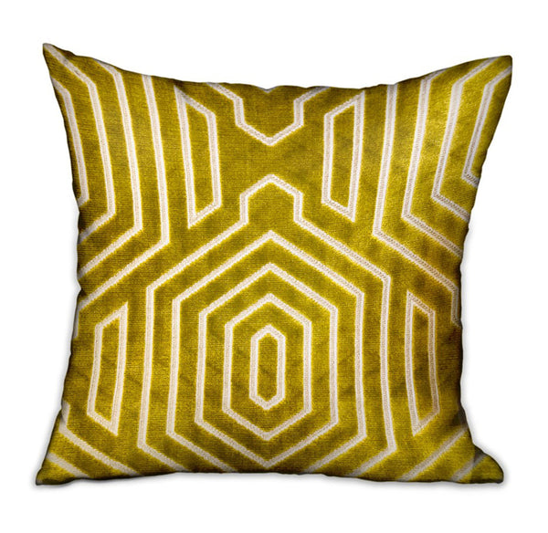 Goldenrod Velvet Gold Geometric Luxury Throw Pillow