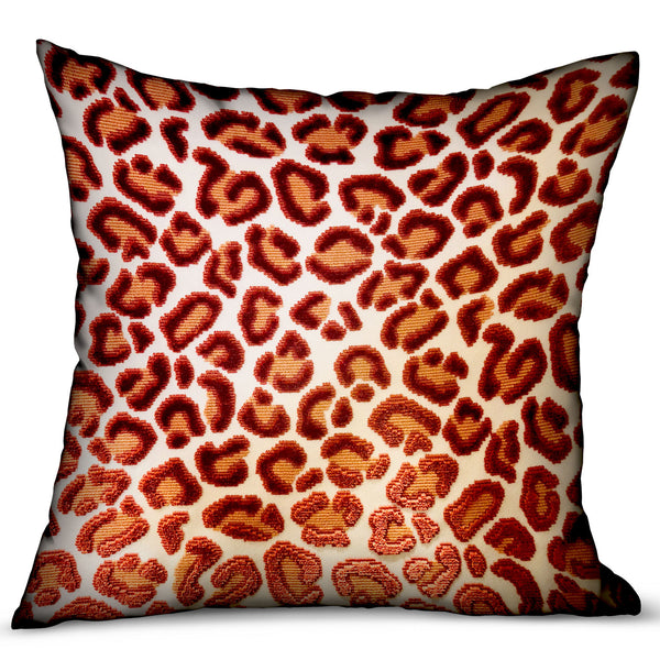 Emberglow Velvet Cheetah Red Animal Motif Luxury Throw Pillow