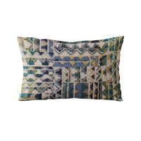 Plutus Blue Pyramids Border Luxury Throw Pillow