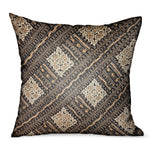 Pewter Lattice Charcoal Geometric Luxury Outdoor/Indoor Throw Pillow