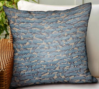 Indigo Rivulet Blue Solid Luxury Outdoor/Indoor Throw Pillow