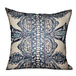 Aristocratic Floret White/ Blue Paisley Luxury Outdoor/Indoor Throw Pillow
