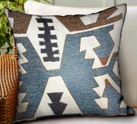 Wild Chumash Blue Brown Geometric Luxury Outdoor/Indoor Throw Pillow