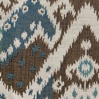 Shoshone Valley Blue Brown Ikat Luxury Outdoor/Indoor Throw Pillow