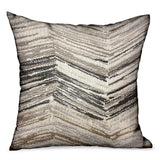 Jagged Sand Brown Geometric Luxury Outdoor/Indoor Throw Pillow