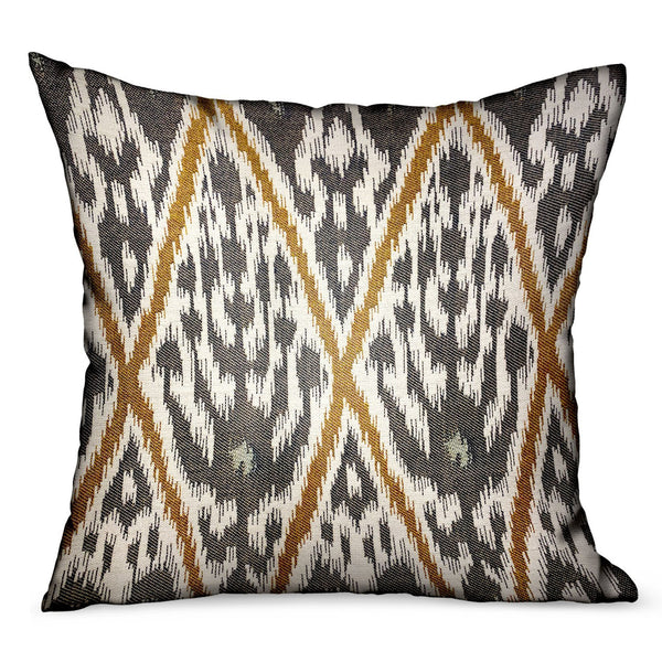 Isabis Plush Brown Ikat Luxury Outdoor/Indoor Throw Pillow