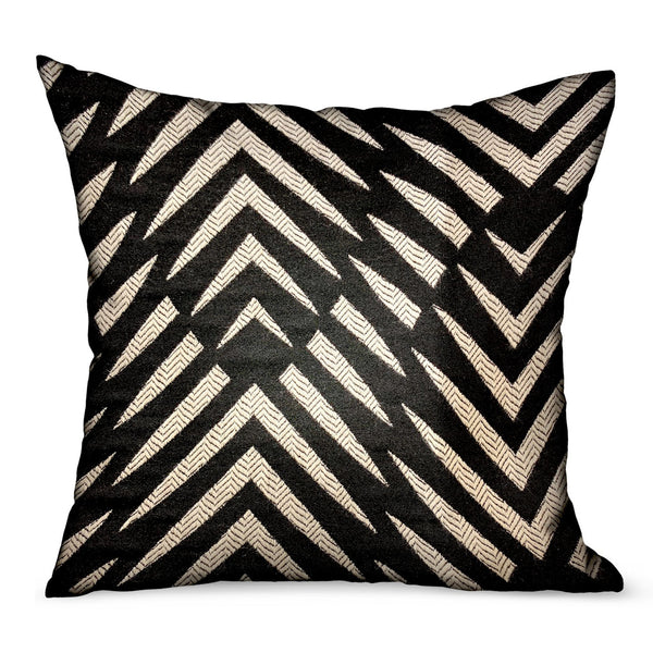 Raven Palm Black Geometric Luxury Outdoor/Indoor Throw Pillow
