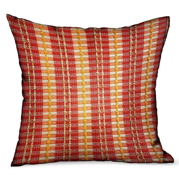 Cherry Tassel Orange Stripes Luxury Outdoor/Indoor Throw Pillow
