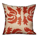 Claret Leaflet Orange Paisley Luxury Outdoor/Indoor Throw Pillow