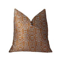 Crossroad Orange and Ivory Handmade Luxury Pillow