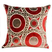 Madeline Red and Brown Handmade Luxury Pillow