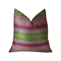 Avalanche Magenta Green and Blue Handmade Luxury Pillow