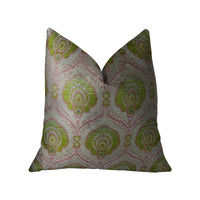 Tulip Garden Pink and Green Handmade Luxury Pillow
