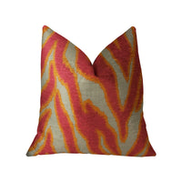 Fuchsia Fire Fuchsia Orange and Taupe Handmade Luxury Pillow